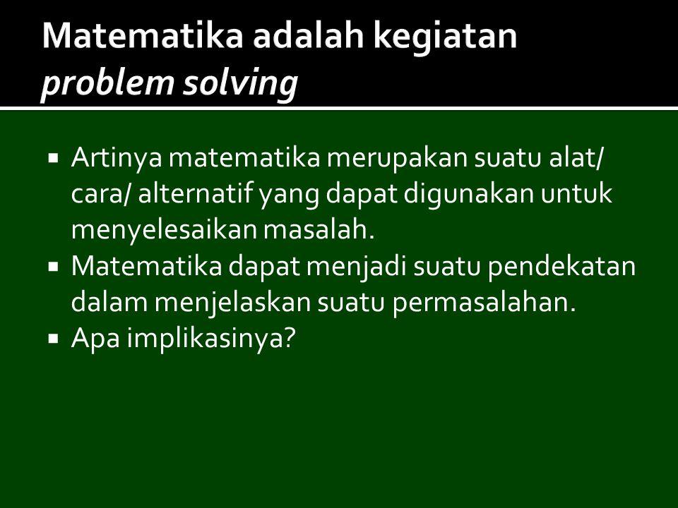 Matematika adalah kegiatan problem solving