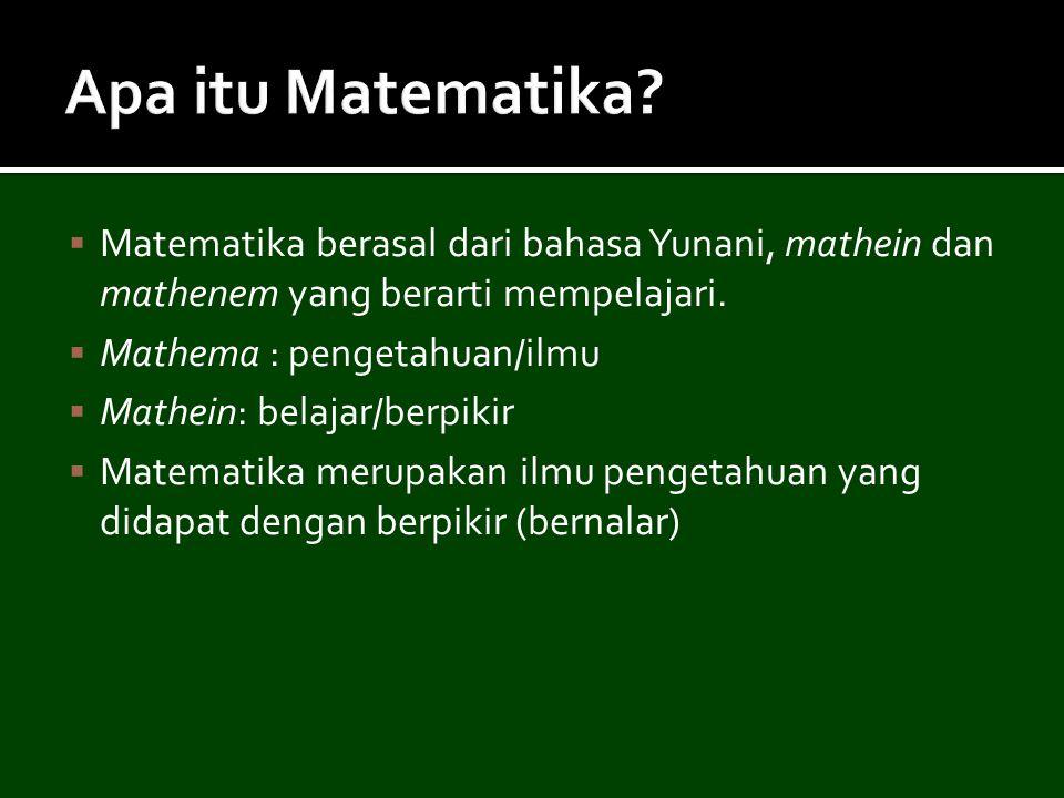 Apa itu Matematika Matematika berasal dari bahasa Yunani, mathein dan mathenem yang berarti mempelajari.