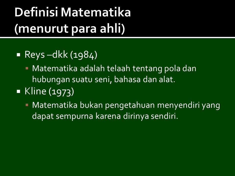 Definisi Matematika (menurut para ahli)