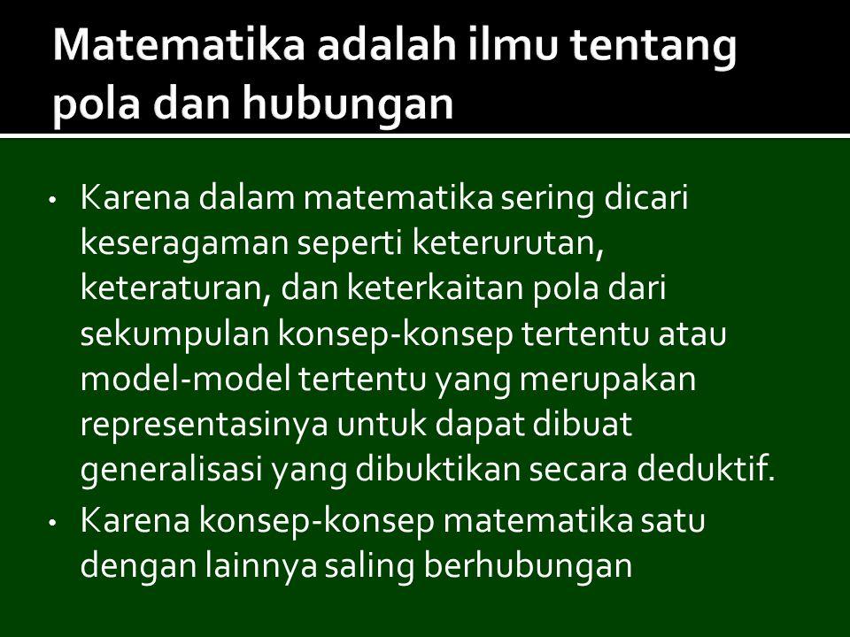 Matematika adalah ilmu tentang pola dan hubungan