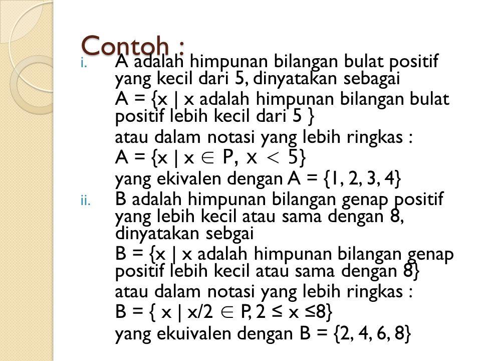 Contoh : A adalah himpunan bilangan bulat positif yang kecil dari 5, dinyatakan sebagai.