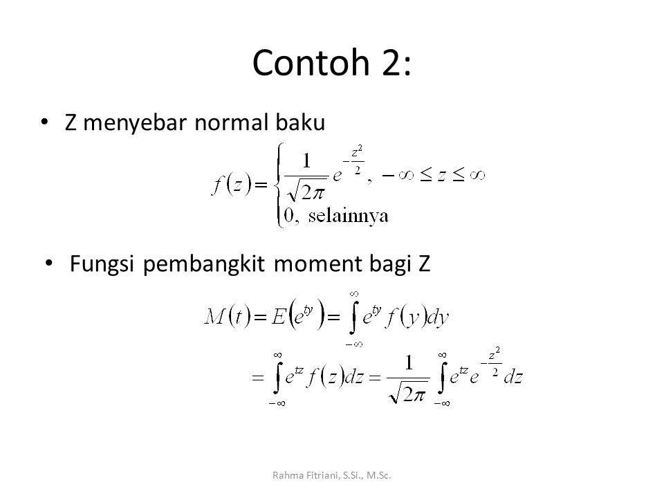 Contoh 2: Z menyebar normal baku Fungsi pembangkit moment bagi Z