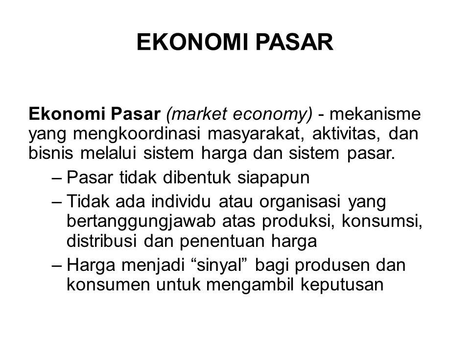 EKONOMI PASAR Ekonomi Pasar (market economy) - mekanisme yang mengkoordinasi masyarakat, aktivitas, dan bisnis melalui sistem harga dan sistem pasar.