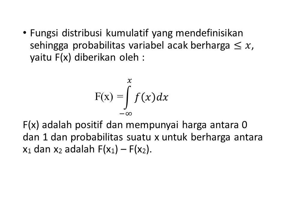 Fungsi distribusi kumulatif yang mendefinisikan sehingga probabilitas variabel acak berharga ≤𝑥, yaitu F(x) diberikan oleh :