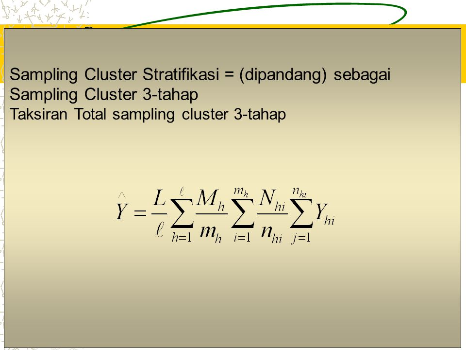 Sampling Cluster Stratifikasi = (dipandang) sebagai Sampling Cluster 3-tahap
