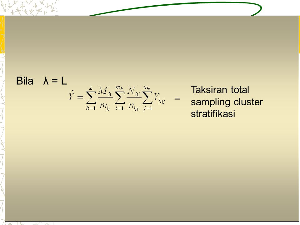 Bila λ = L Taksiran total sampling cluster stratifikasi =