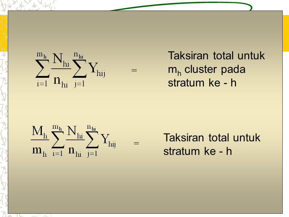 Taksiran total untuk mh cluster pada stratum ke - h
