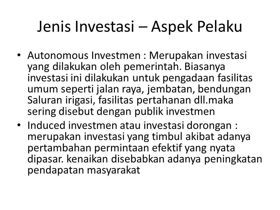 Jenis Investasi – Aspek Pelaku