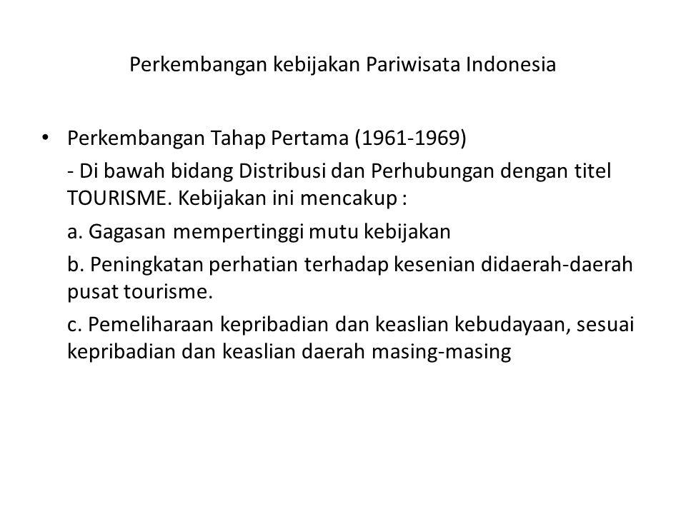 Perkembangan kebijakan Pariwisata Indonesia