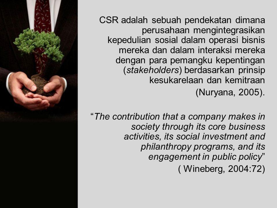 CSR adalah sebuah pendekatan dimana perusahaan mengintegrasikan kepedulian sosial dalam operasi bisnis mereka dan dalam interaksi mereka dengan para pemangku kepentingan (stakeholders) berdasarkan prinsip kesukarelaan dan kemitraan