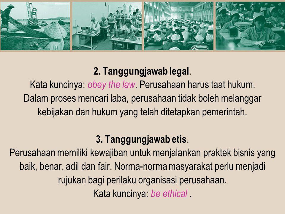 Kata kuncinya: obey the law. Perusahaan harus taat hukum.