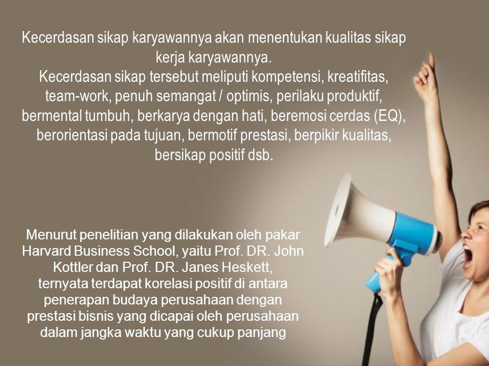 Kecerdasan sikap karyawannya akan menentukan kualitas sikap kerja karyawannya.