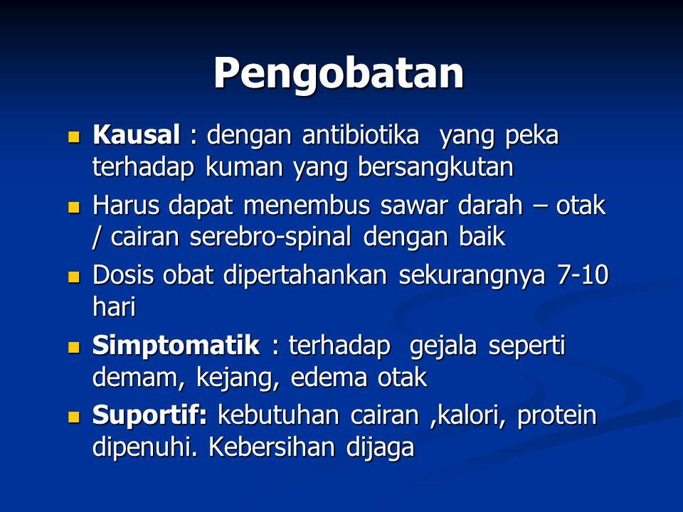 Pengobatan Kausal : dengan antibiotika yang peka terhadap kuman yang bersangkutan.