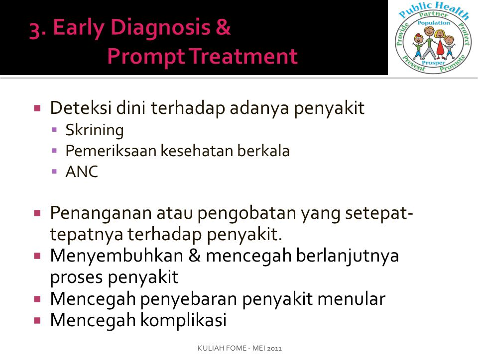 3. Early Diagnosis & Prompt Treatment