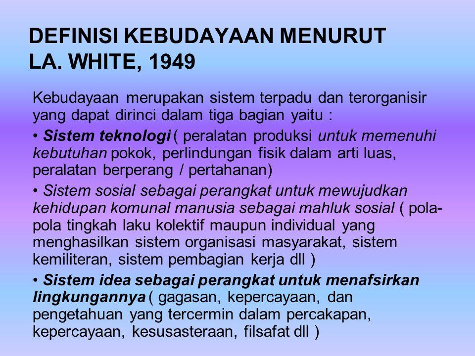 DEFINISI KEBUDAYAAN MENURUT LA. WHITE, 1949