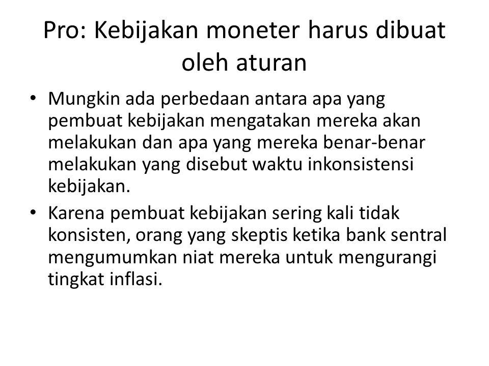 Pro: Kebijakan moneter harus dibuat oleh aturan
