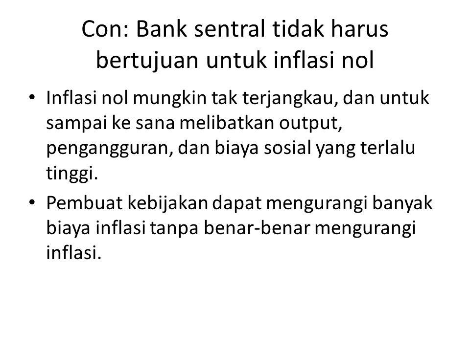Con: Bank sentral tidak harus bertujuan untuk inflasi nol