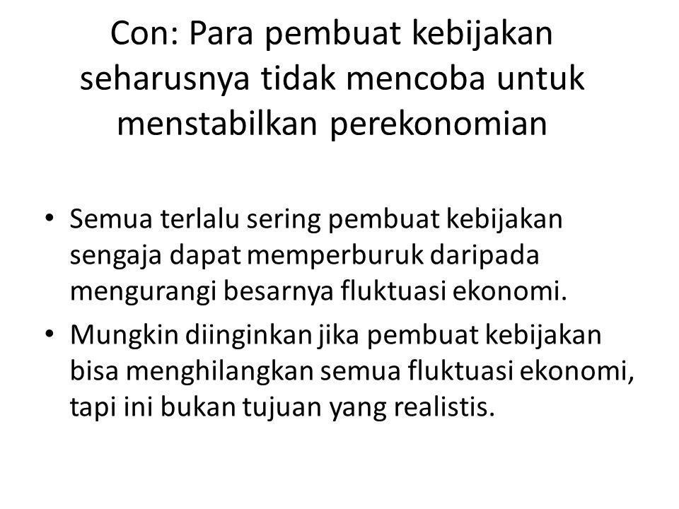 Con: Para pembuat kebijakan seharusnya tidak mencoba untuk menstabilkan perekonomian