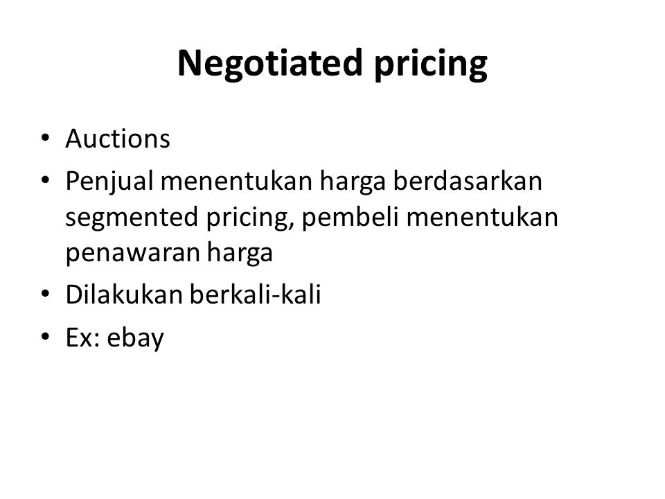 Negotiated pricing Auctions