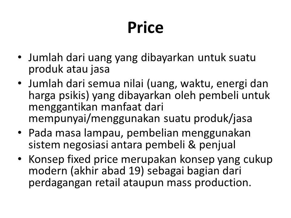 Price Jumlah dari uang yang dibayarkan untuk suatu produk atau jasa