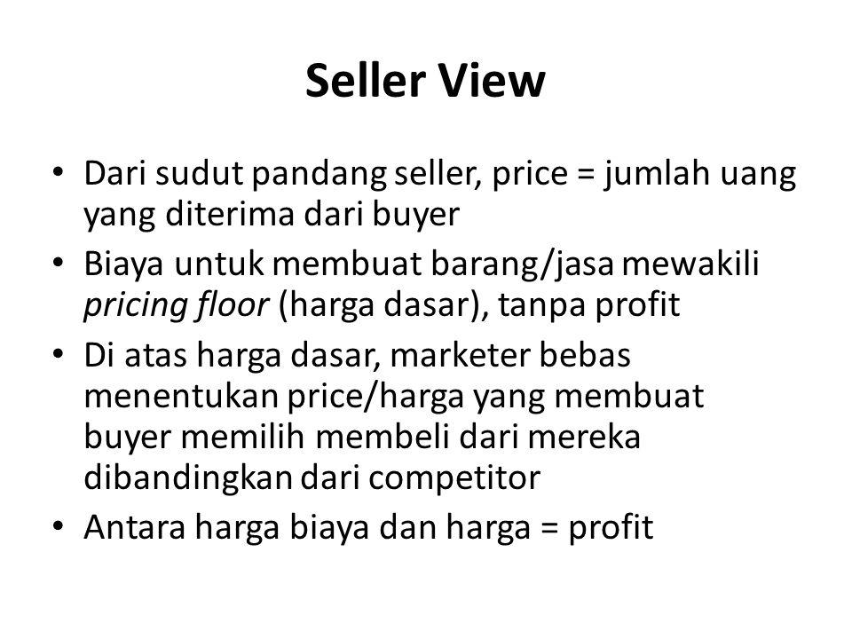 Seller View Dari sudut pandang seller, price = jumlah uang yang diterima dari buyer.