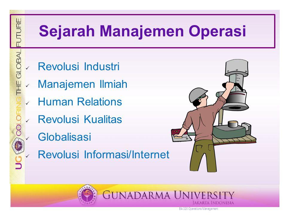 Sejarah Manajemen Operasi