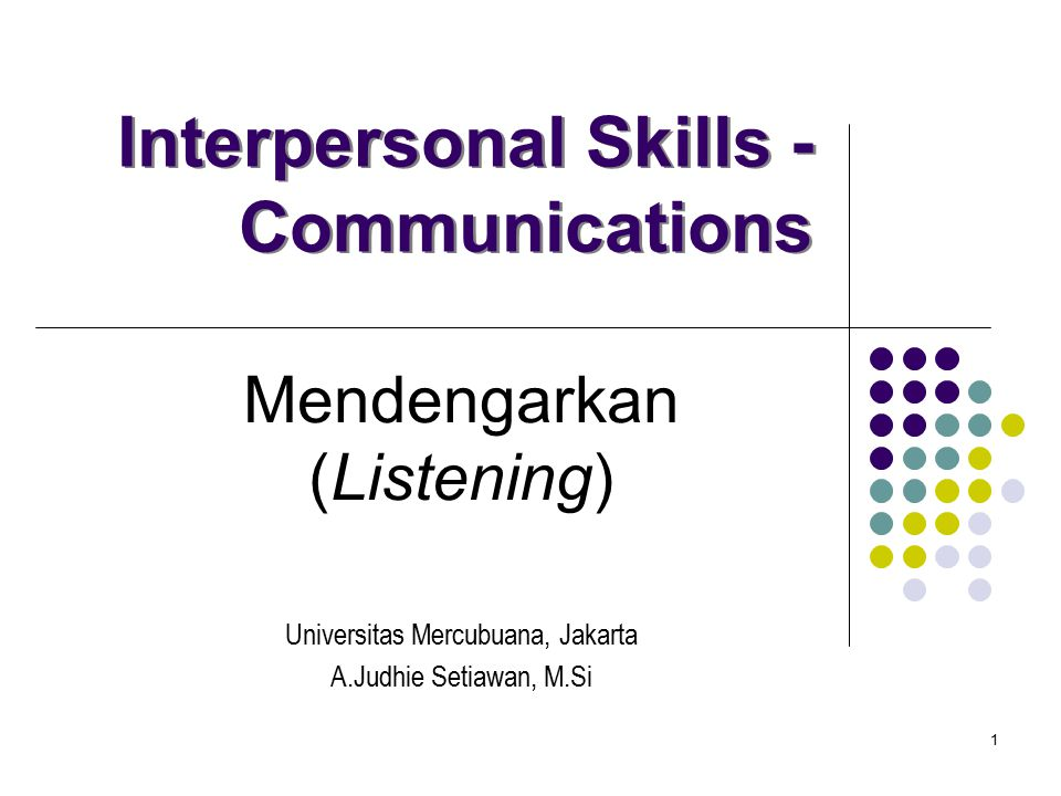 Interpersonal Skills - Communications