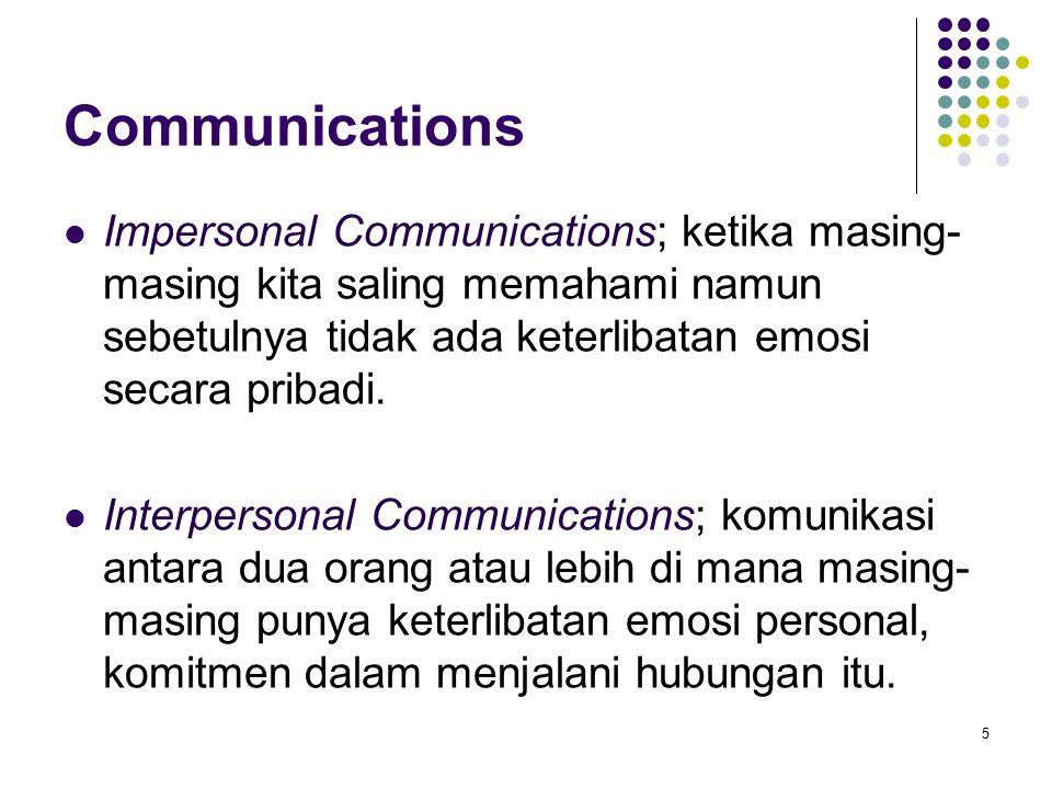 Communications Impersonal Communications; ketika masing-masing kita saling memahami namun sebetulnya tidak ada keterlibatan emosi secara pribadi.