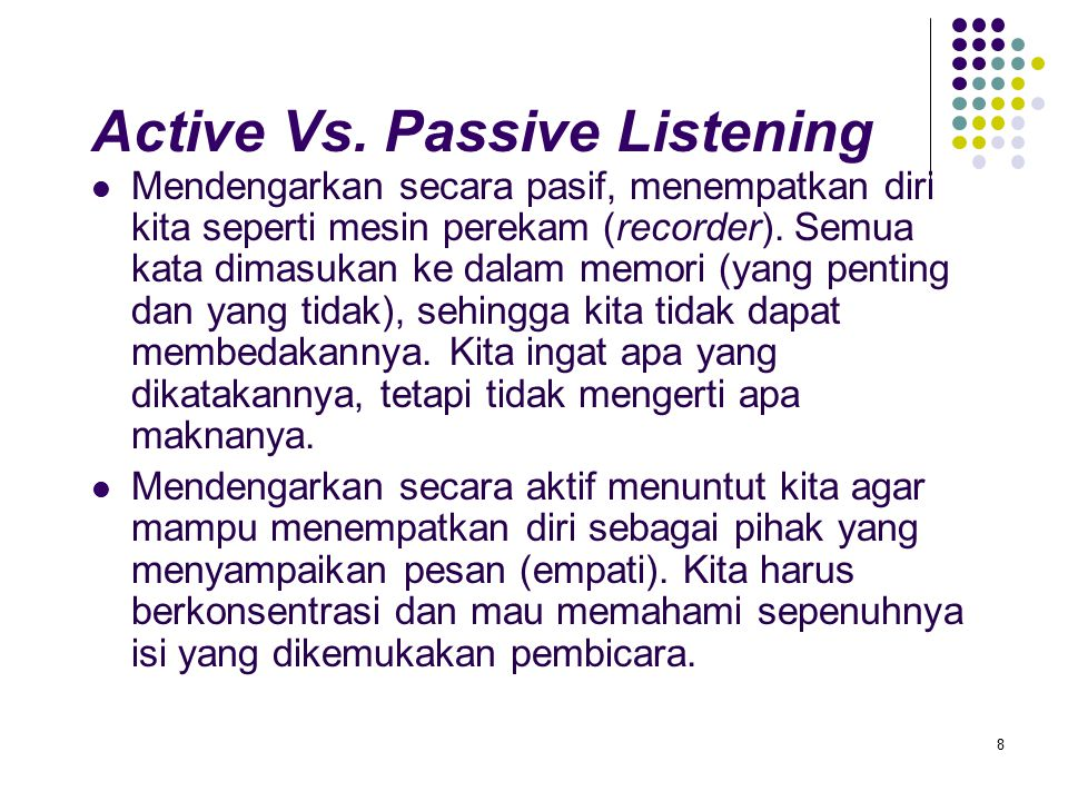 Active Vs. Passive Listening