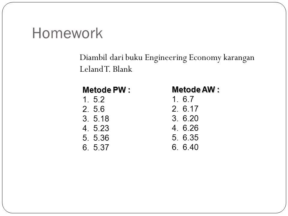 Homework Diambil dari buku Engineering Economy karangan Leland T. Blank. Metode PW : 5.2. 5.6. 5.18.