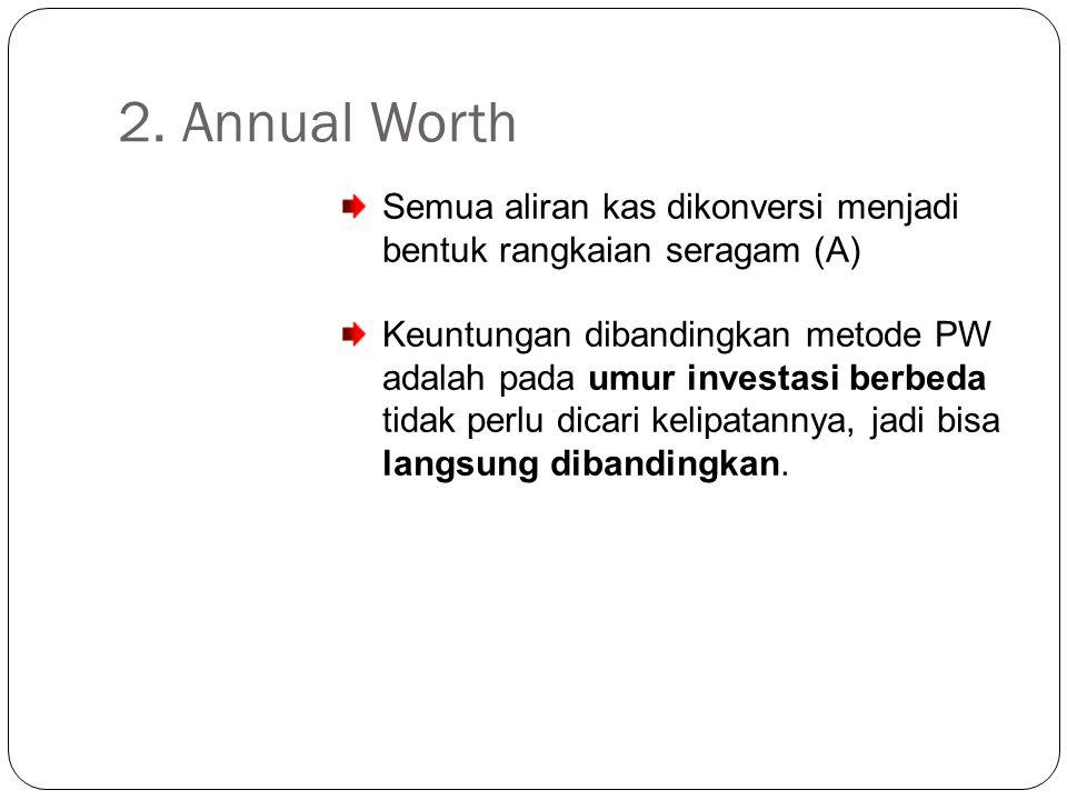 2. Annual Worth Semua aliran kas dikonversi menjadi bentuk rangkaian seragam (A)