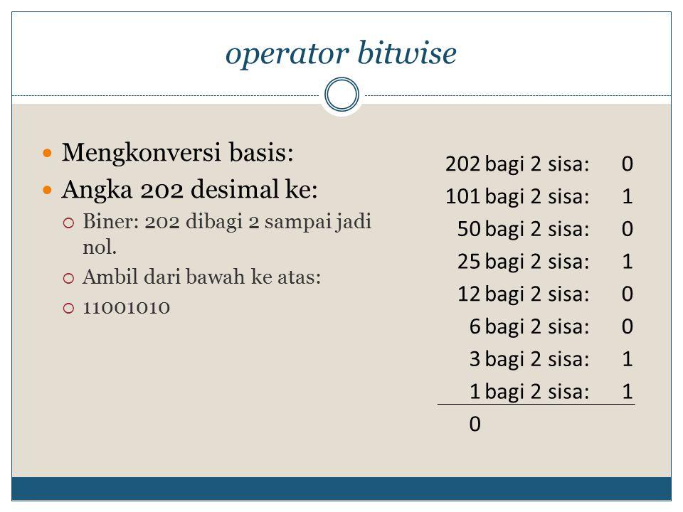 operator bitwise Mengkonversi basis: Angka 202 desimal ke: 202