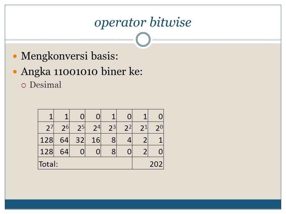 operator bitwise Mengkonversi basis: Angka 11001010 biner ke: Desimal