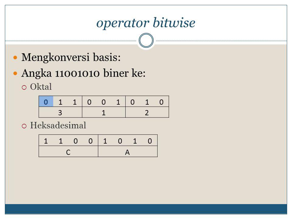 operator bitwise Mengkonversi basis: Angka 11001010 biner ke: Oktal