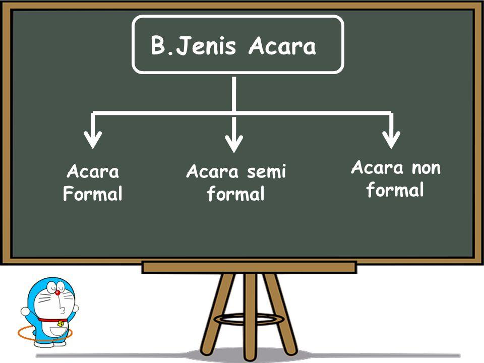 B.Jenis Acara Acara non formal Acara Formal Acara semi formal