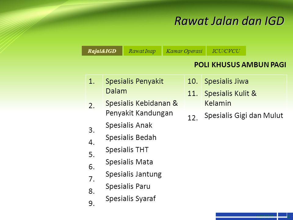 Rawat Jalan dan IGD POLI KHUSUS AMBUN PAGI 1. 2. 3. 4. 5. 6. 7. 8. 9.