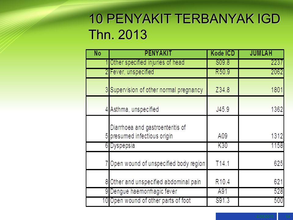 10 PENYAKIT TERBANYAK IGD Thn. 2013