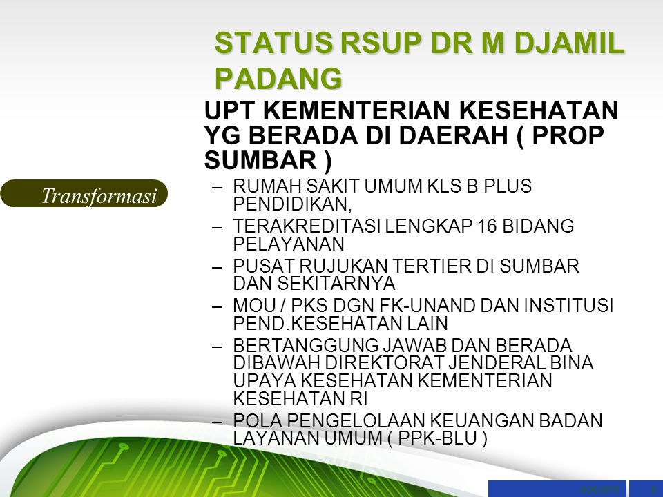 STATUS RSUP DR M DJAMIL PADANG