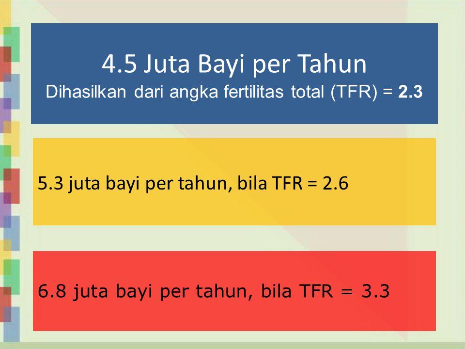 4.5 Juta Bayi per Tahun Dihasilkan dari angka fertilitas total (TFR) = 2.3