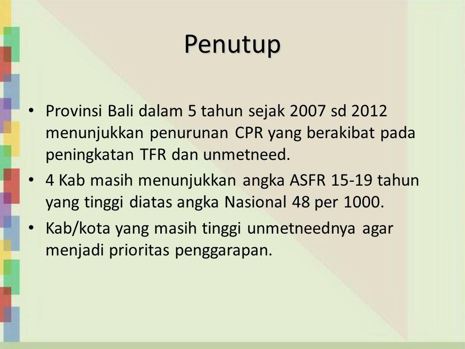 Penutup Provinsi Bali dalam 5 tahun sejak 2007 sd 2012 menunjukkan penurunan CPR yang berakibat pada peningkatan TFR dan unmetneed.