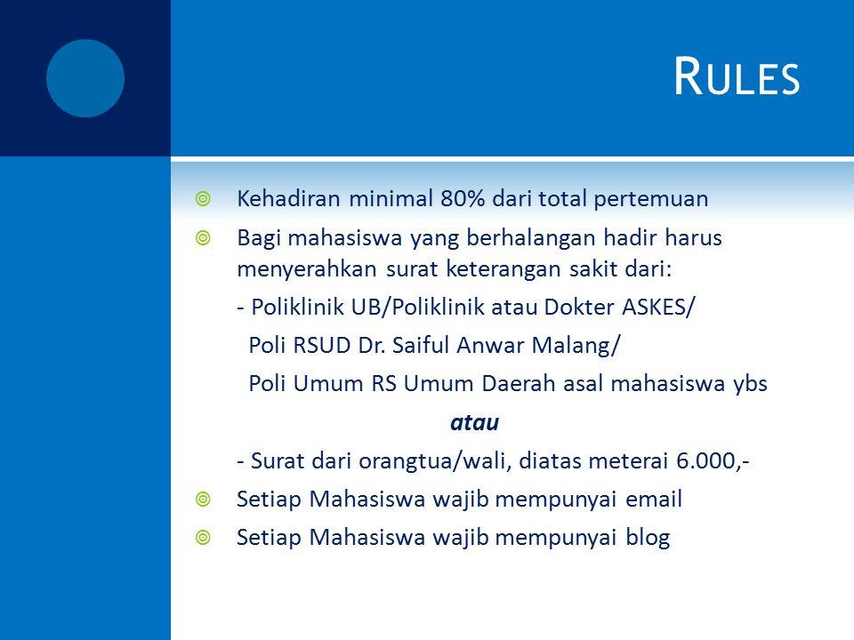 Rules Kehadiran minimal 80% dari total pertemuan