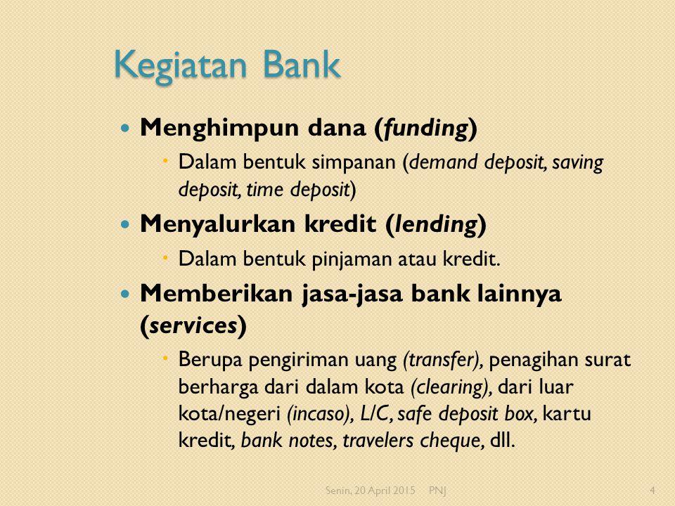 Kegiatan Bank Menghimpun dana (funding) Menyalurkan kredit (lending)