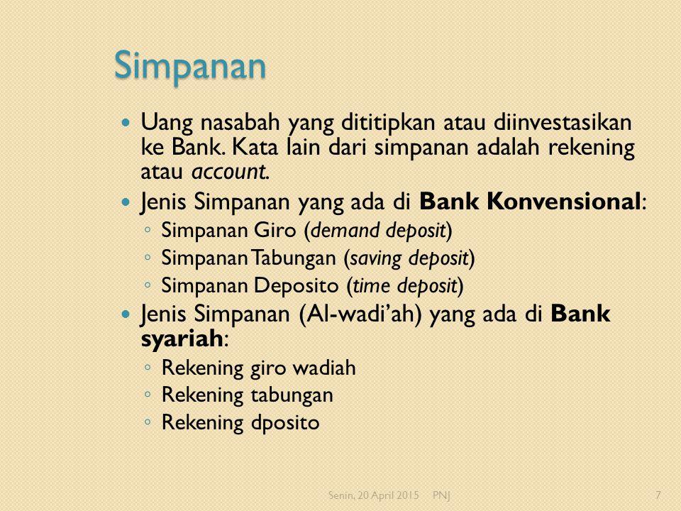 Simpanan Uang nasabah yang dititipkan atau diinvestasikan ke Bank. Kata lain dari simpanan adalah rekening atau account.
