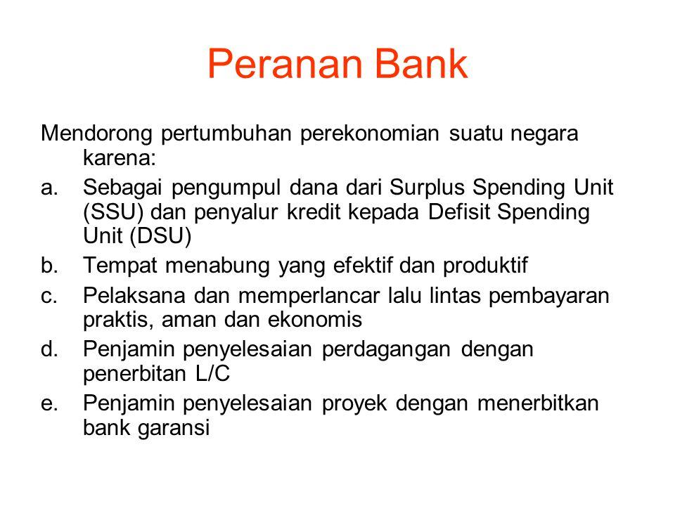 Peranan Bank Mendorong pertumbuhan perekonomian suatu negara karena: