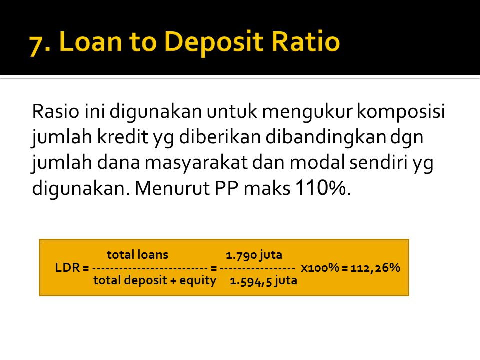 7. Loan to Deposit Ratio