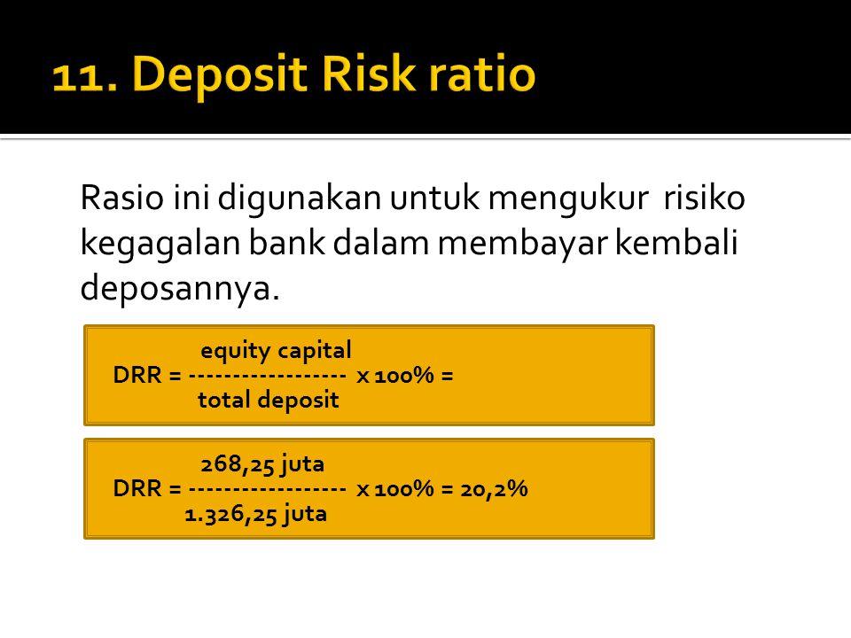 11. Deposit Risk ratio Rasio ini digunakan untuk mengukur risiko kegagalan bank dalam membayar kembali deposannya.