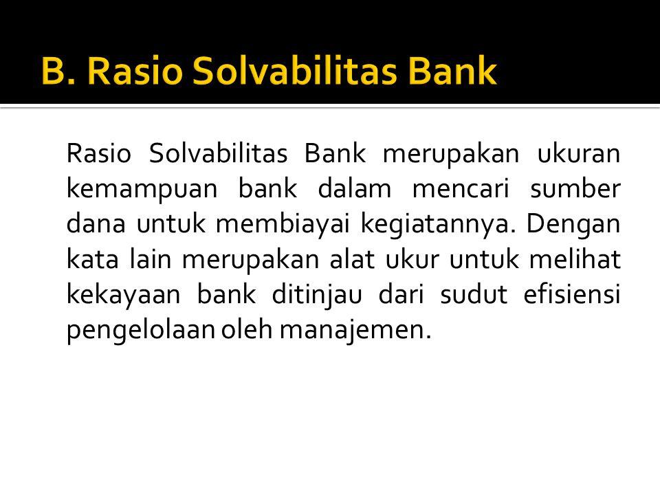 B. Rasio Solvabilitas Bank