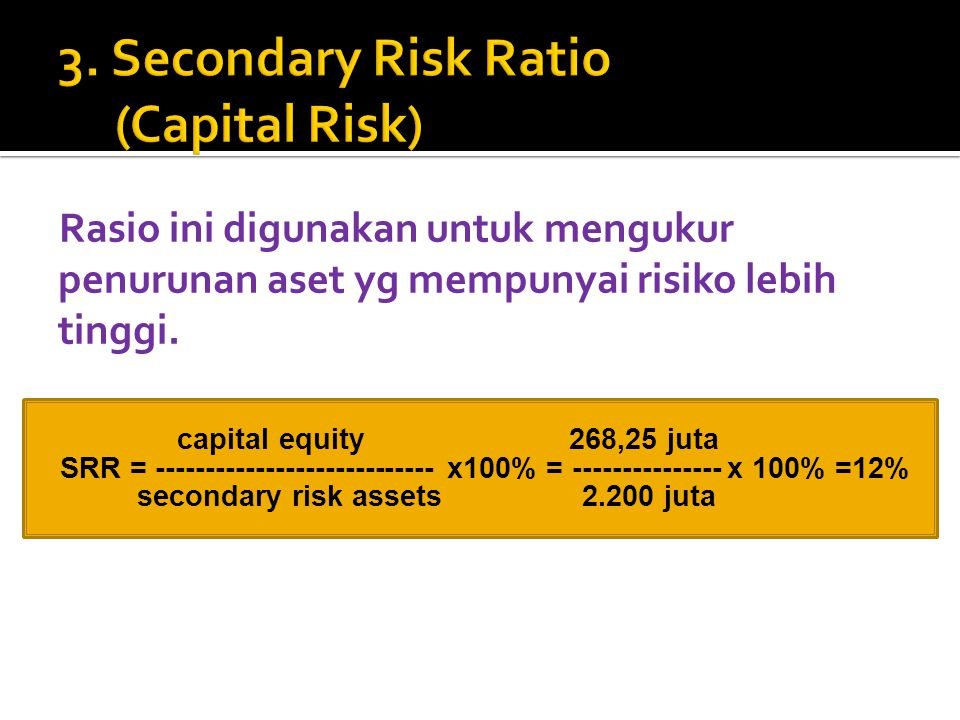 3. Secondary Risk Ratio (Capital Risk)