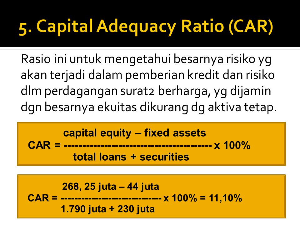 5. Capital Adequacy Ratio (CAR)