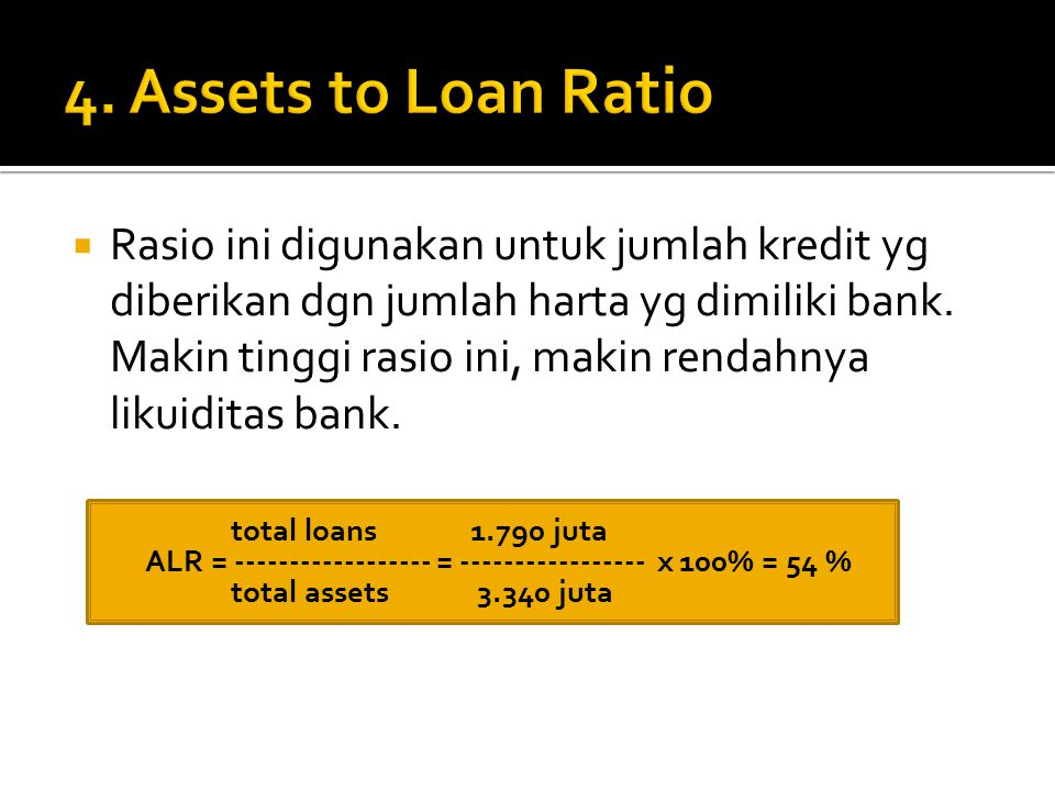 4. Assets to Loan Ratio